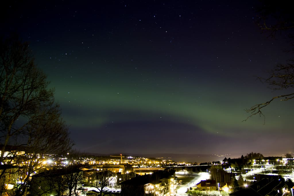 Late season northern lights seen right outside the apartment on 14th of April 2016.