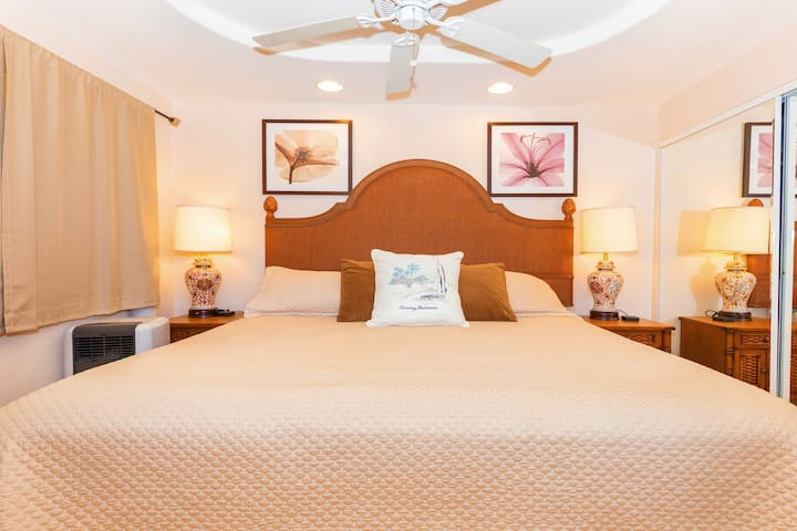 Bedroom has a King size bed, air conditioner, ceiling fan, lamps, USB charging stations, side tables, dresser, and a luggage rack.