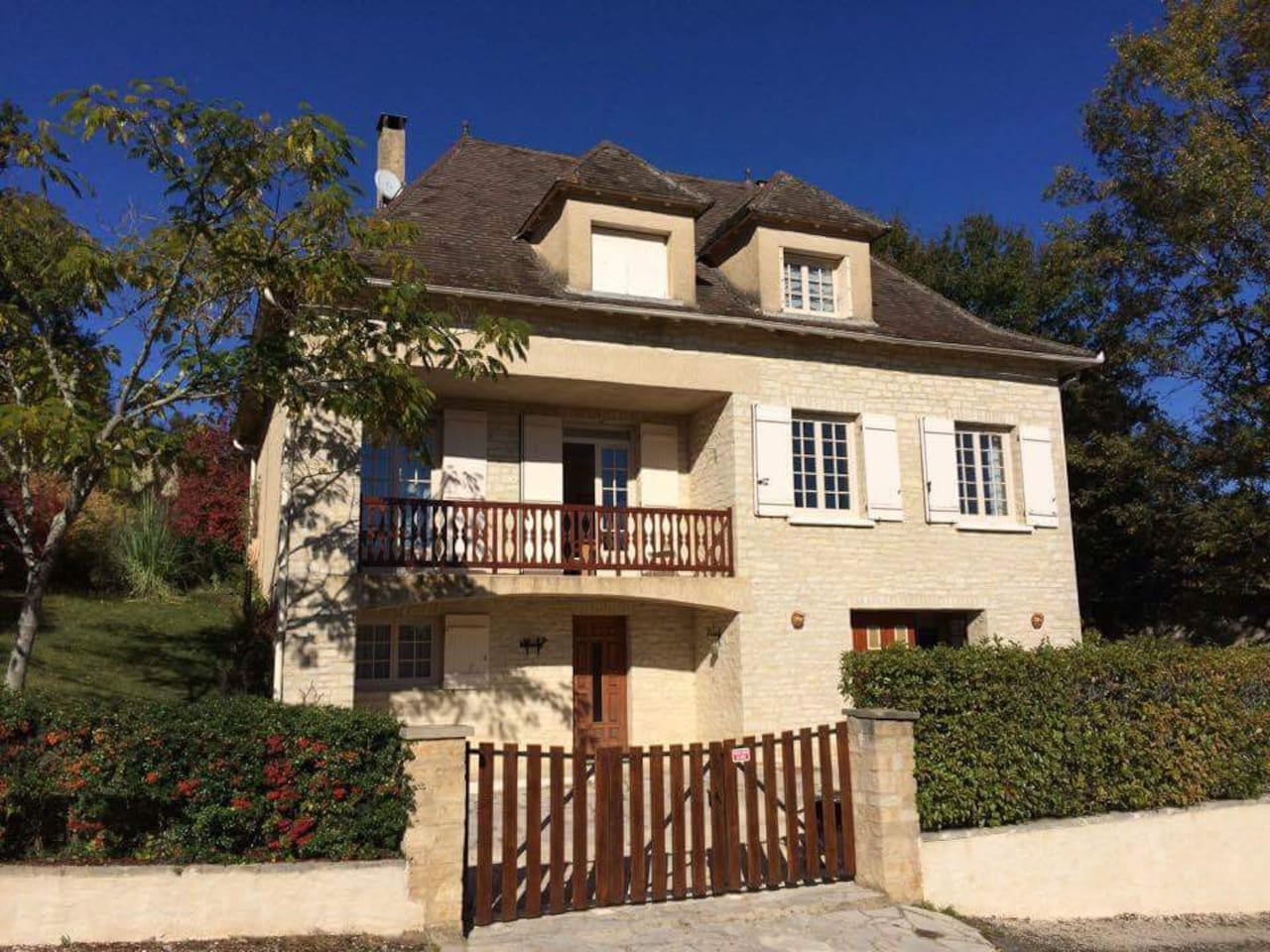 Large village house with gardens, pool, veranda and rear dining terrace