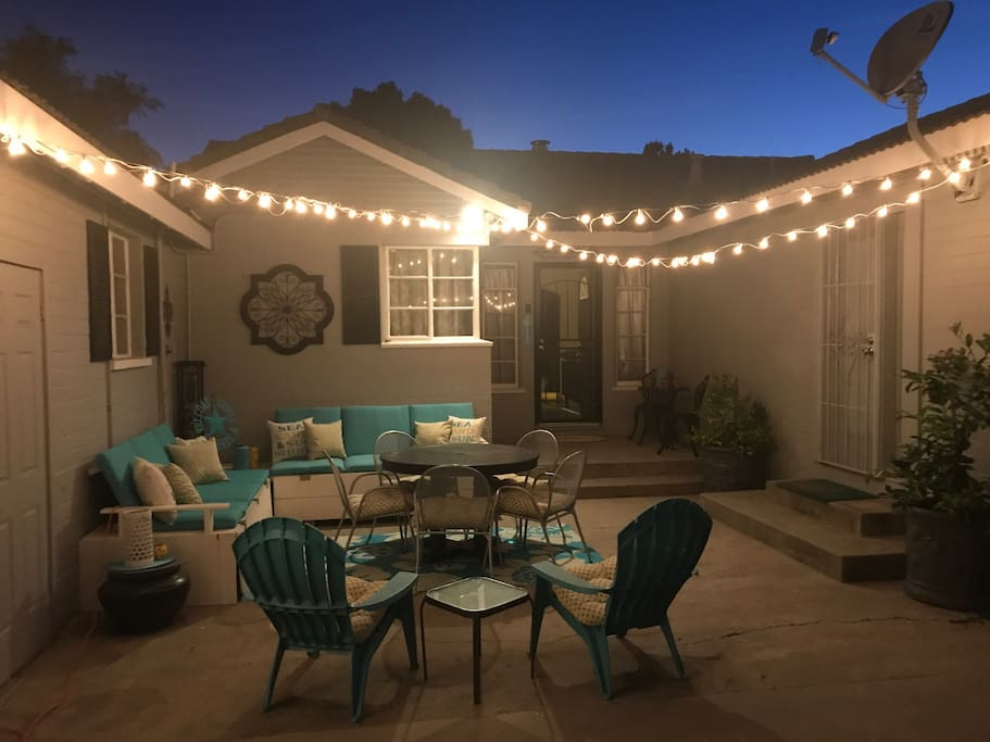 Outdoor courtyard with lights