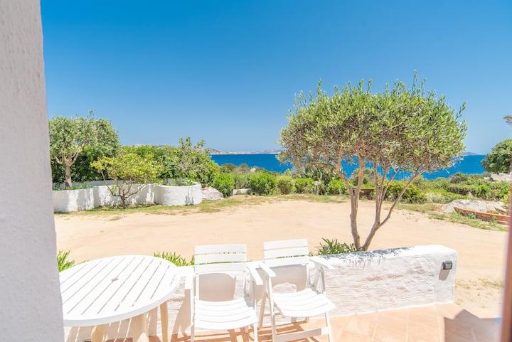 Studio à proximité de la plage avec terrasse et vue sur mer ; places de parking disponibles, animaux acceptés.