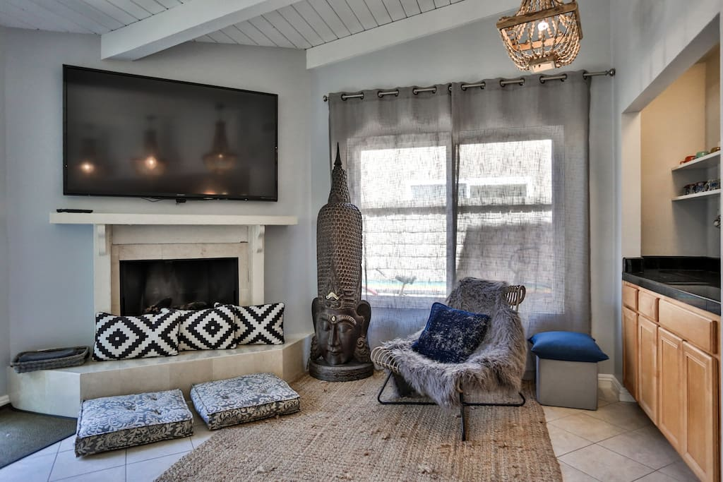 Chill out in this cute and calm nook.  Fireplace available in the winter, extra seating in the summer.