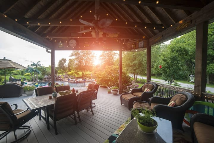 Covered Porch Overlooking Pool
