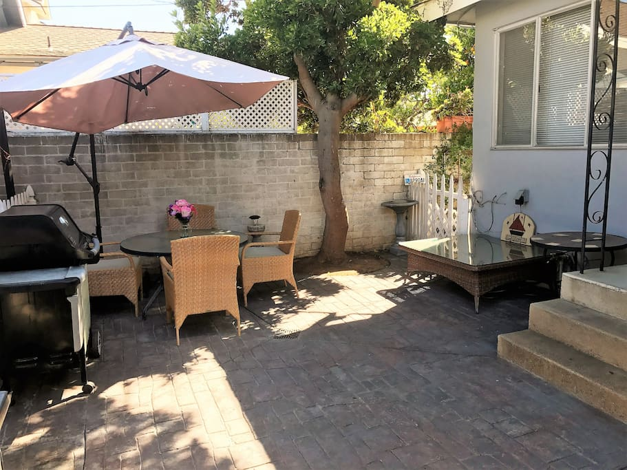 Outdoor dining area and BBQ for your exclusive use.