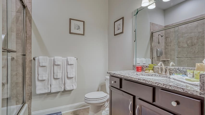 Kids Bathroom With Tub and Shower