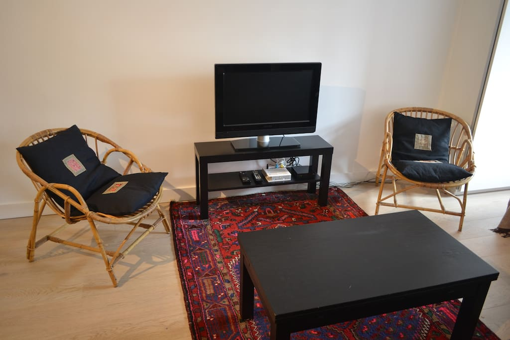 Lounge area, with a couch, a coffee table, 2 armchairs, TV, WIFI