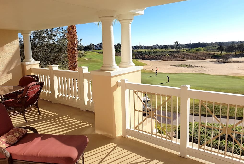 Extra large terrace. Enjoy breakfast while you watch the golfers.