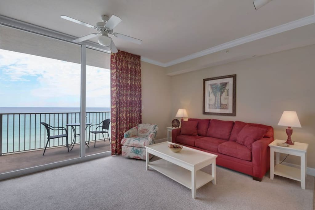 Gulf front living area features a Queen sofa sleeper so this vacation home will comfortably sleep 6