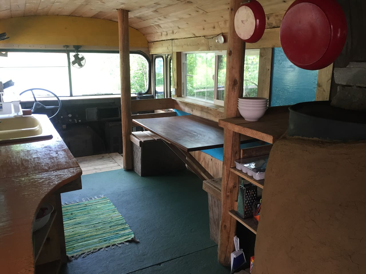 Indoor kitchen and seating