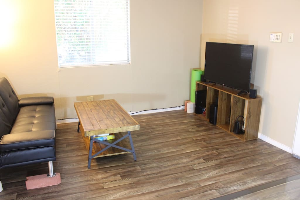 Apartment is full-wooden floor