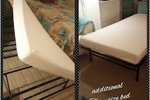 Additional twin size bed available, will be tighter fit so recommended for short stays.