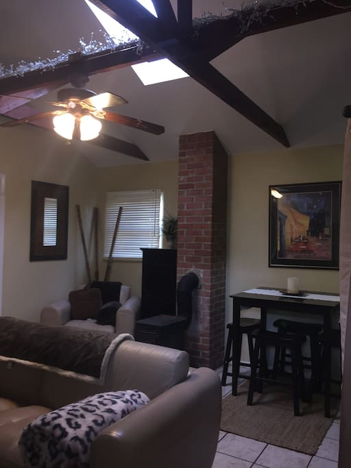 Dining area and vaulted ceilings
