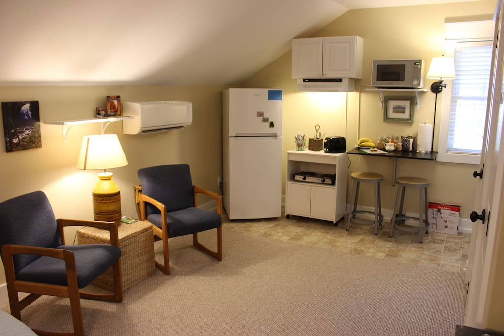 Sitting room and kitchenette with refrigerator