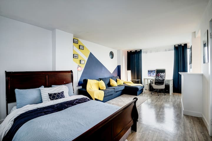 Stylish studio with queen bed.