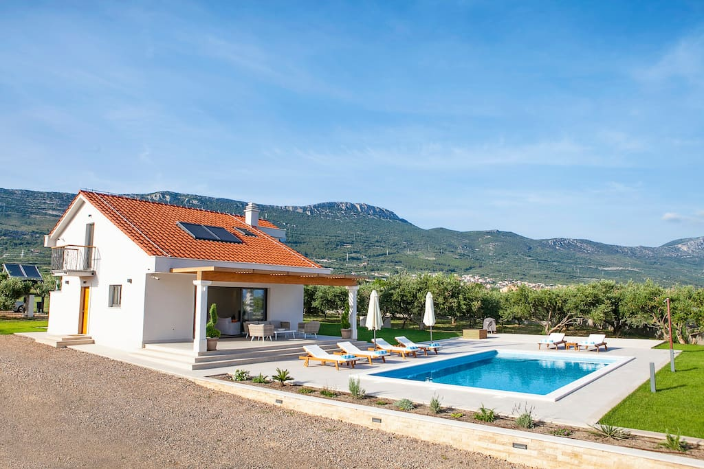 View at the villa, pool and olive grove