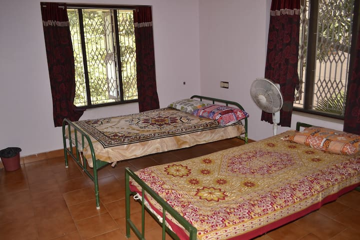 Bedroom 1: One double bed and one single bed (accommodates 3 people).
