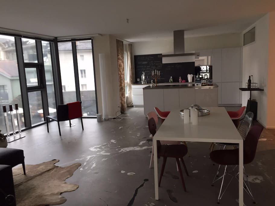 Kitchen in the background