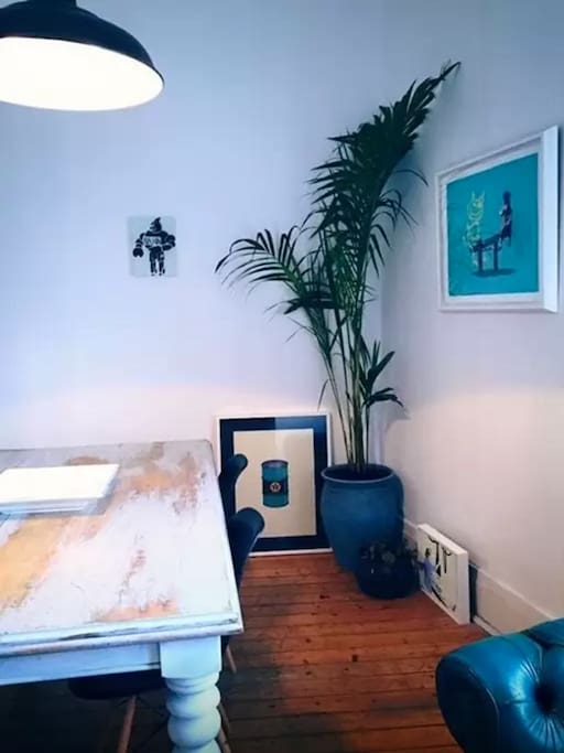 Art nooks throughout the apartment