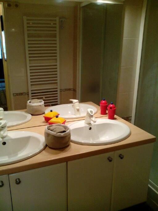 salle de bains 2 vasques et grande douche