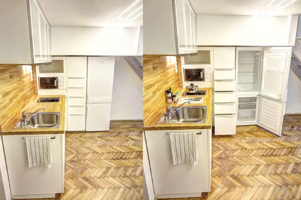 Fully equipped kitchen, ample storage, big fridge with freezer