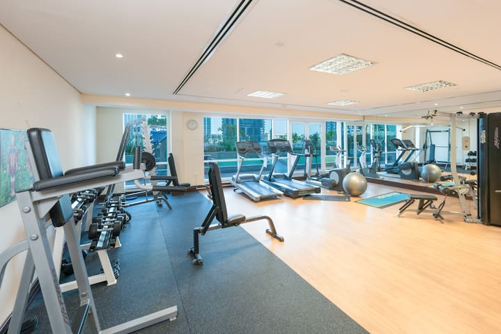 Fully equipped separate men's and women's gyms, as well as hot tub, sauna, and steam room
