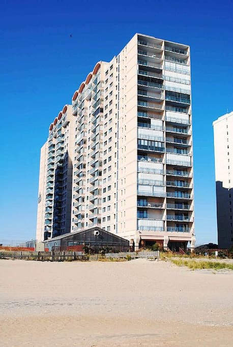 The Capri building is right on the beach