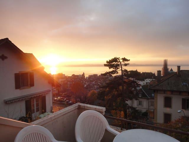 Bel appartement vue lac Alpes