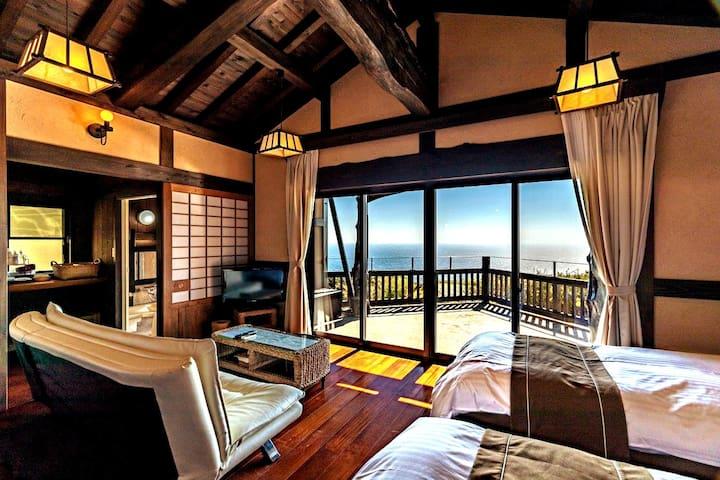 太平洋を一望できるプライベートコテージ。絶景を眺めながら最高のひと時を