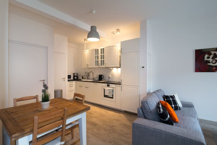 Renovated historic stables apartment with terrace