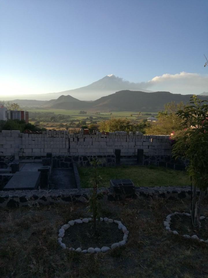 Casa de campo con vista al Volcan Popocatepetl y