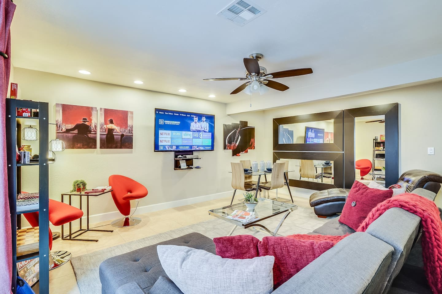 Interior decorate inspired great room w/65 inch Smart TV with Cable