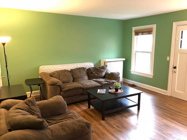 Spacious living room with sofa and coffee table