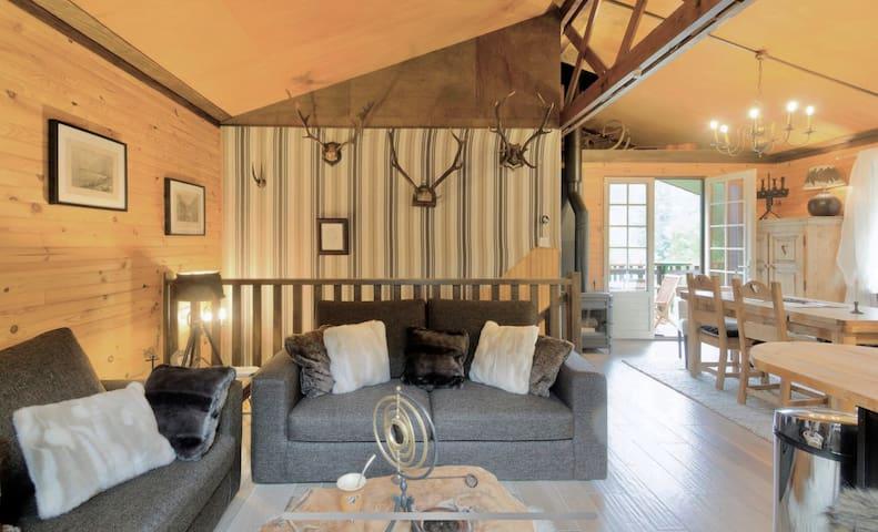 Grande pièce à vivre avec décoration montagne