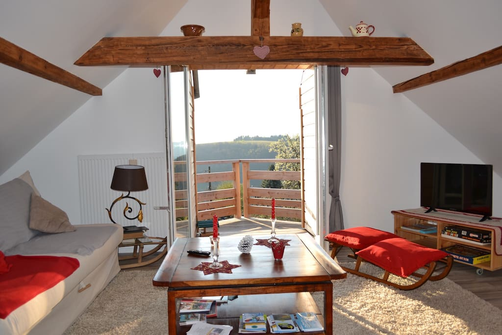 Espace saloon ,donnant sur un balcon avec vue magnifique sur la montagne.