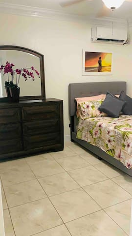 The second bedroom holds a Full sized bed which easily sleeps two people and ideal for kids.