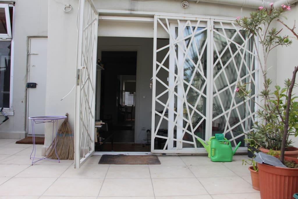 entrance to flat via terrace