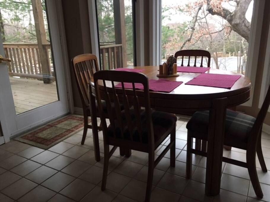 Bright dining area, open floor plan.