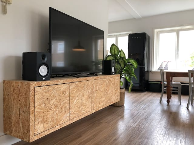 "The living room has a 55"" tv with built-in Chromecast, Netflix, a Nintendo 64, Xbox 360 and Playstation 4 connected to it. You can play your music via WiFi over the speakers next to it. Ideal for kicking back after a long day of exploring the city!"