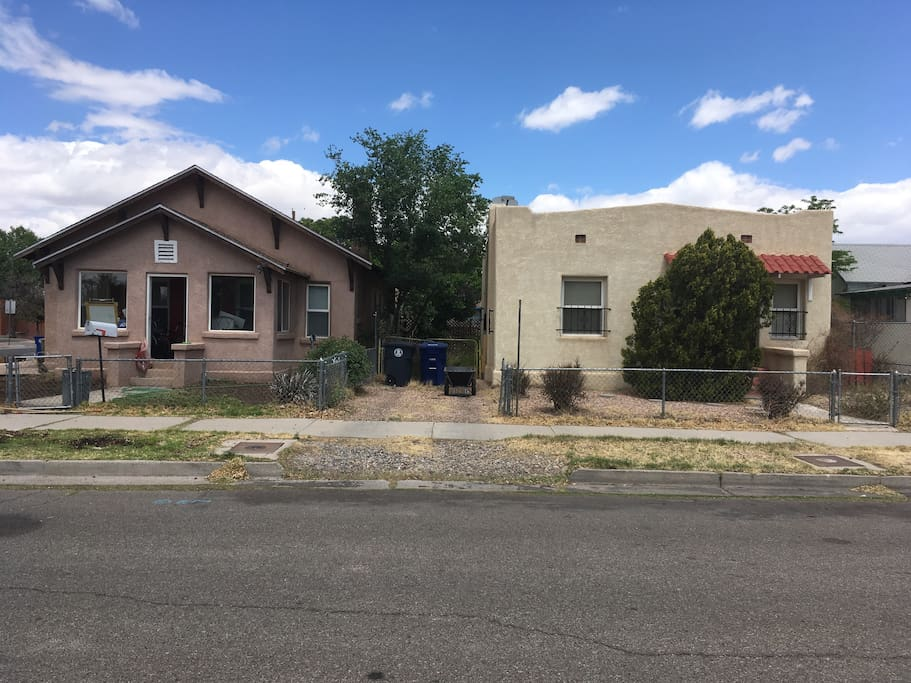 Both homes are available and have a connected backyard/patio.