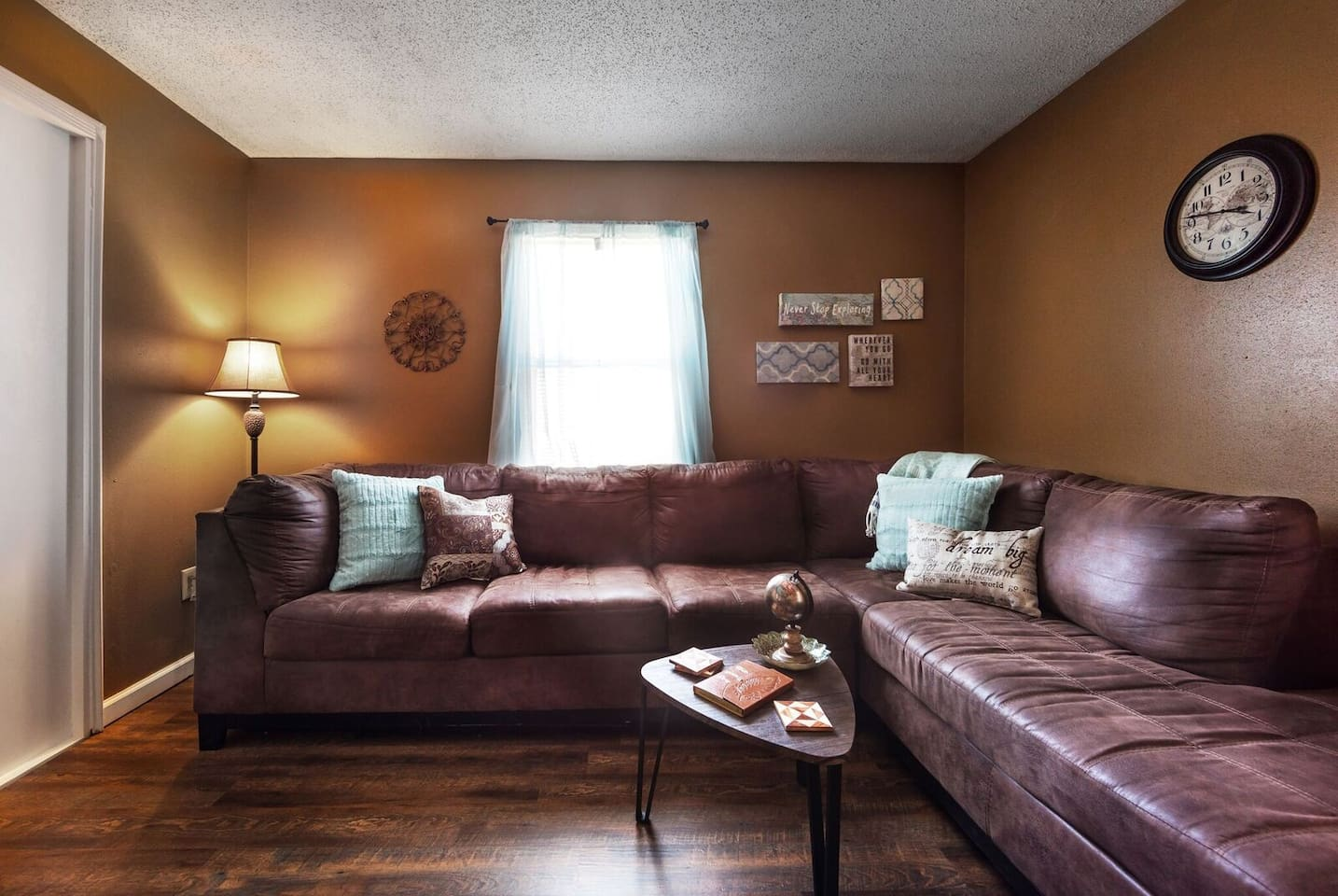 This is the room you walk into, the living room.  It has a wonderful, large, comfortable couch.  Advertised to sleep one, but really large enough for two!