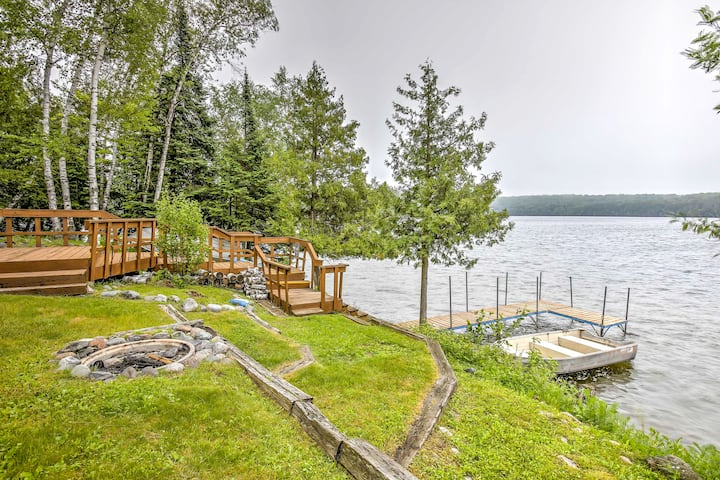 Chicagon Lakefront Cabin with Private Sauna & Dock