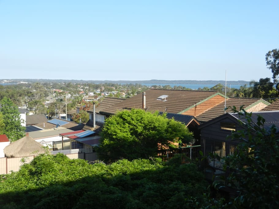 Location view from balcony showing Tuggerah lake less than 2 mins away