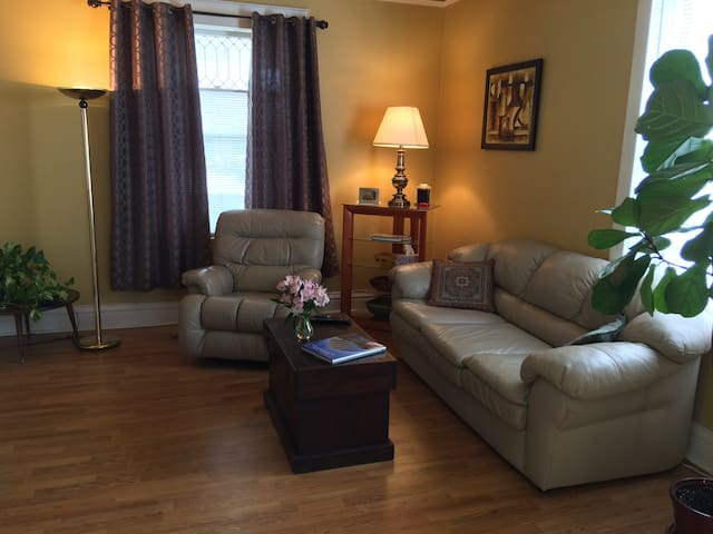"""Living room with 52"""" TV and Netflix"""