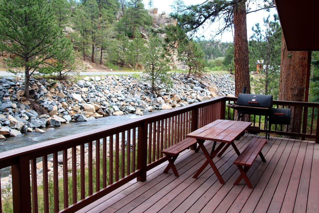 Large deck overlooking the Big Thompson River