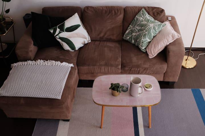 Comfy sofa and original DDR coffee table