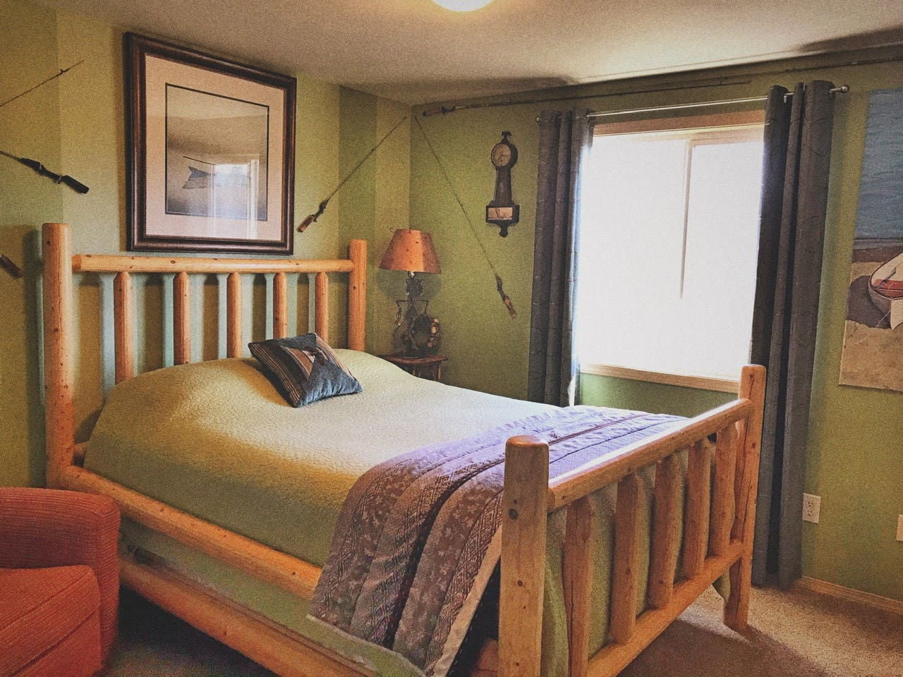 This space boasts a comfortable Queen size bed with fresh linens in a cozy room right next to your private bathroom