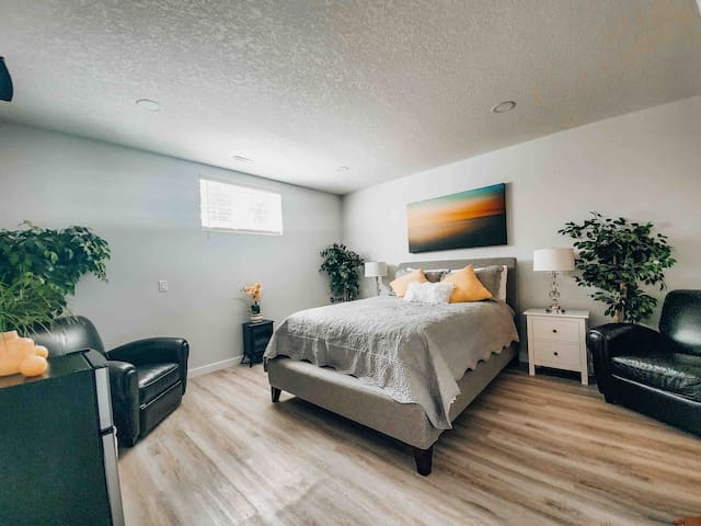 Large room with queen size bed and Premium bedding, 2 night stands with lamps. Bright LED lighting with dimmer to make the room comfortably light for your preference.