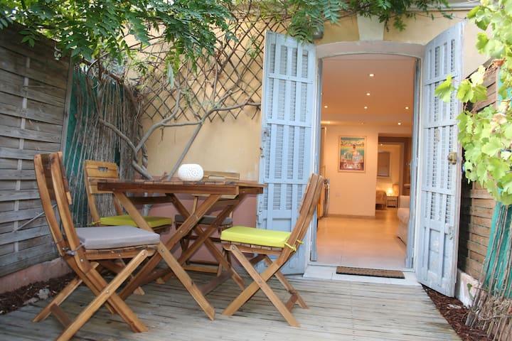 2pièces Climatisé+Jardin+Parking 5mins des plages