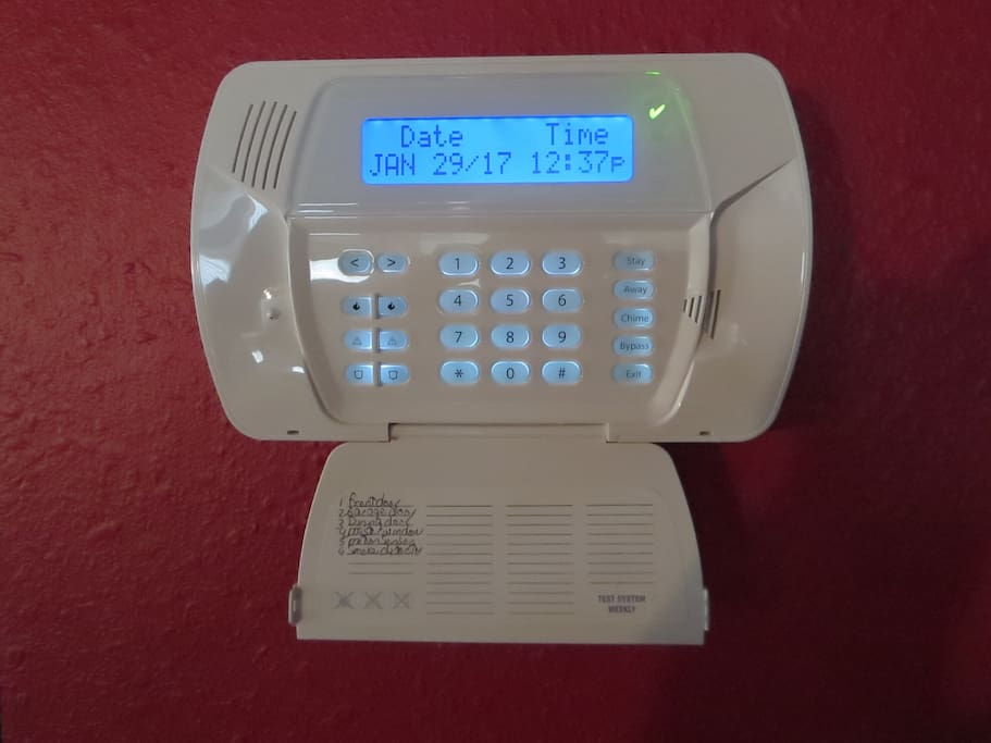 Security alarm system with custom code for each tenant. Code given at check in.