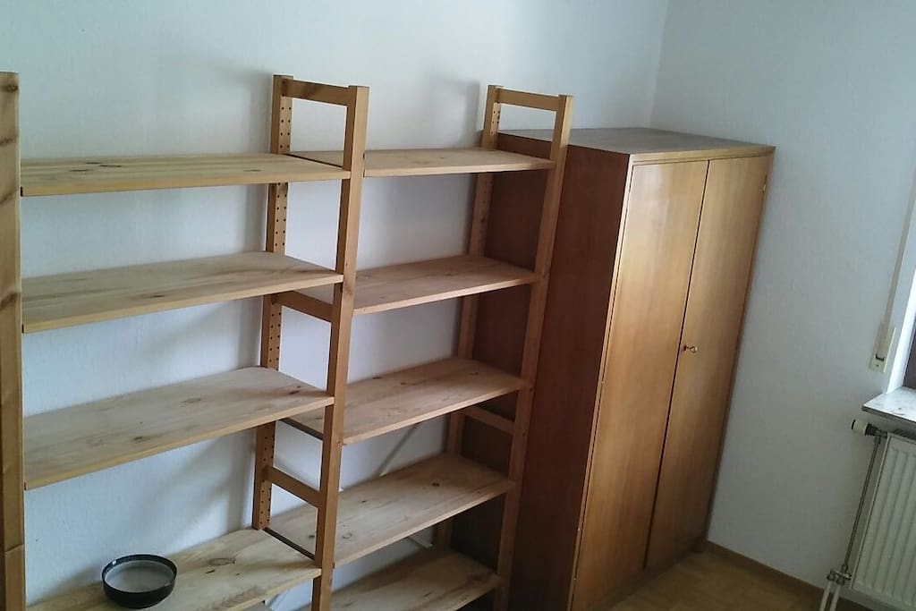 A large shelve and closet